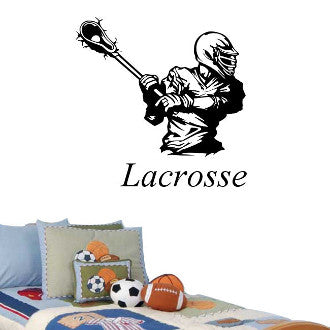 Lacrosse Player with Lacrosse Text Wall Decal Sticker
