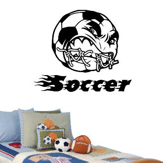 Angry Soccer Ball with Soccer Text Wall Decal Sticker