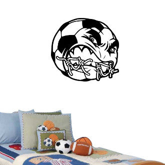Angry Soccer Ball  Wall Decal Sticker