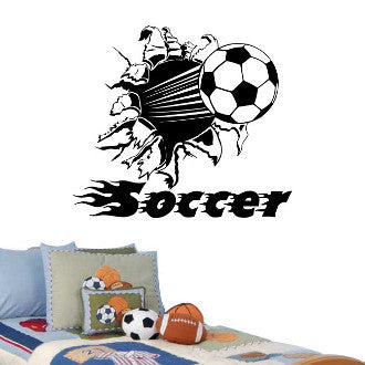 Soccer Ball Rip with Soccer Text Wall Decal Sticker