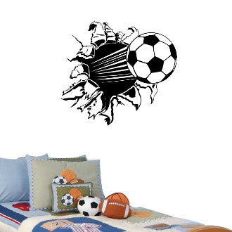 Soccer Ball Rip Wall Decal Sticker