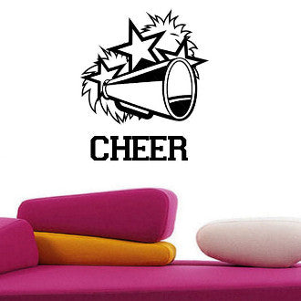 Cheerleading Megaphone with Cheer Text Wall Decal Sticker