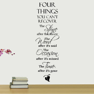 Four Things You Can't Recover Wall Quote Decal