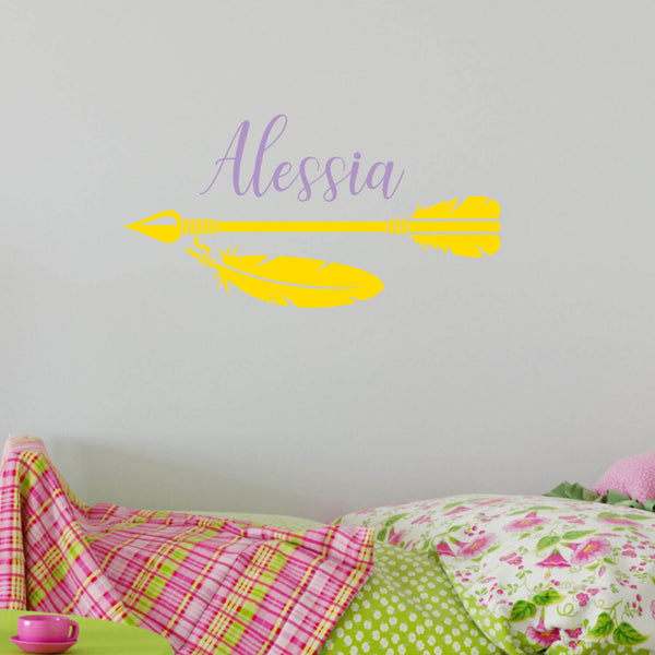Arrow Feather with Personalized Name Vinyl Wall Decal
