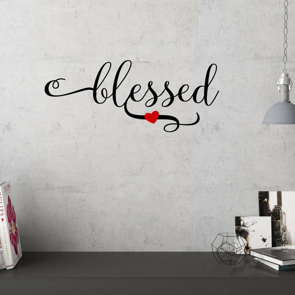 Blessed With Red Heart Vinyl Wall Decal