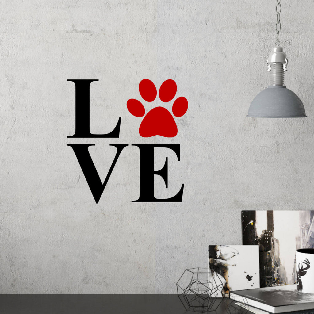 Love With Red Pet Paw Vinyl Wall Decal