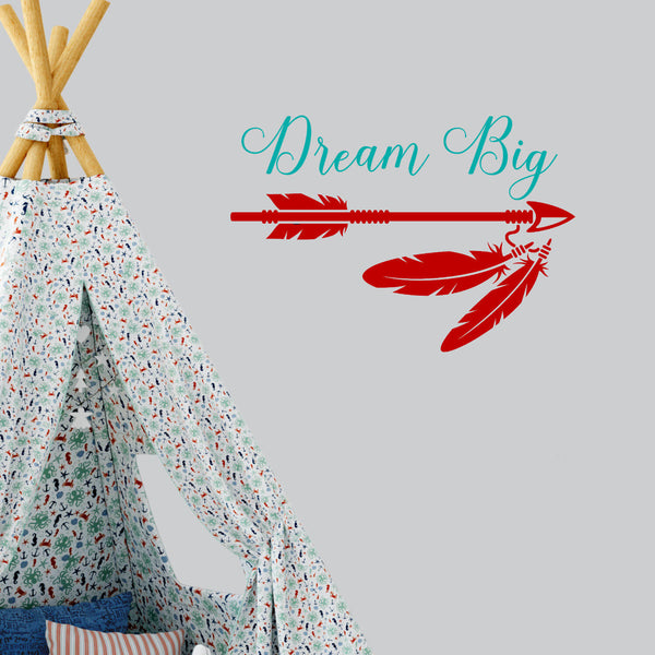 Dream Big Arrow Feather 2 Color Vinyl Wall Decal