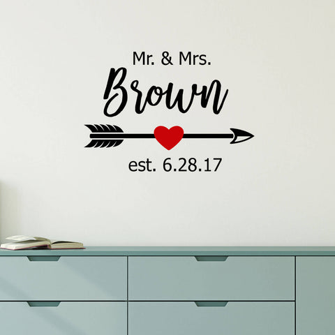 Mr & Mrs. With Arrow and Red Heart Personalized Vinyl Wall Decal