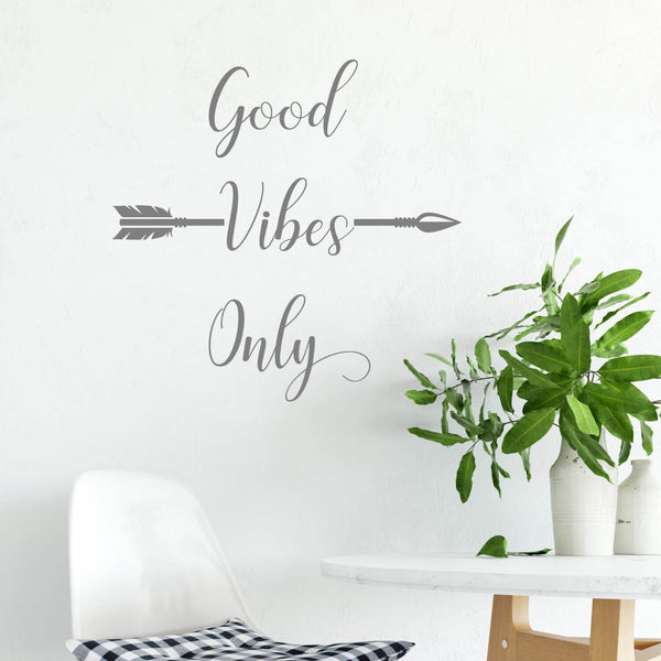 Good Vibes Only Arrow Vinyl Wall Decal