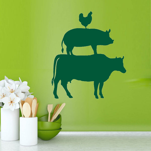 Cow Pig Chicken Vinyl Wall Decal