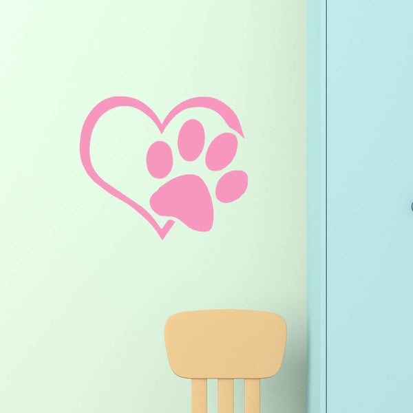 Heart Paw Vinyl Wall Decal