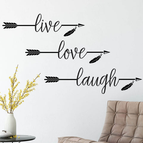 Live, Love, Laugh Arrow Vinyl Wall Decal