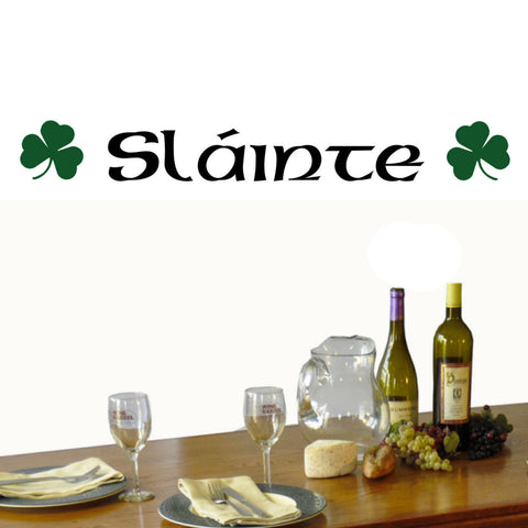 Slainte with Green Clover Wall Decal
