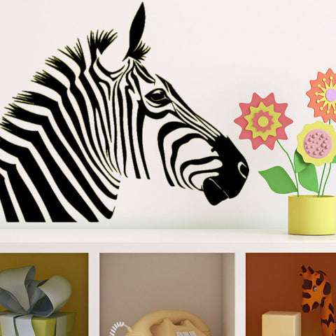 Zebra Head Vinyl Wall Decal Sticker