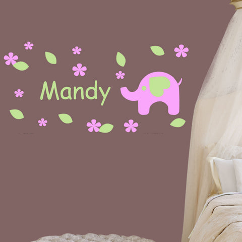 Sweet Elephant Nursery Room Vinyl Wall Decal Personalized