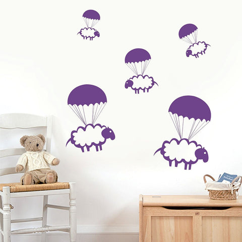 Parachute Sheep Vinyl Wall Decal Sticker Set of 15