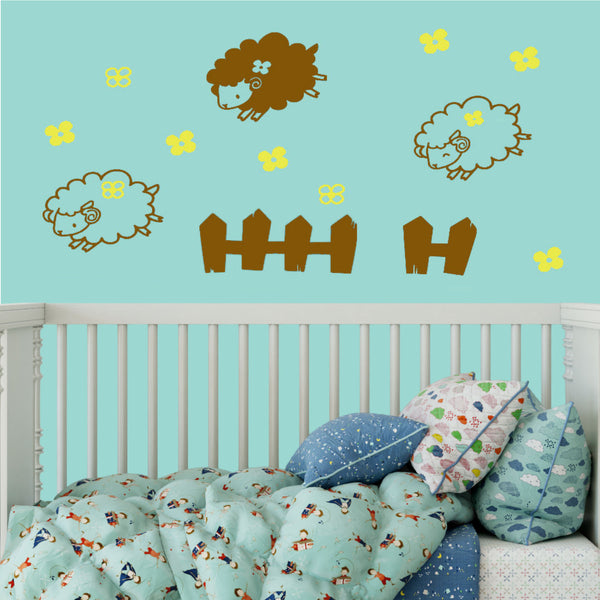 Counting Sheep Nursery Room Vinyl Wall Decal Personalized
