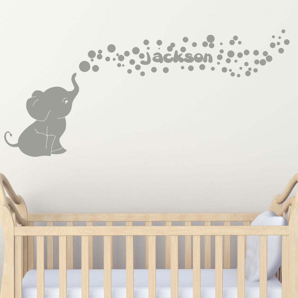 Cutie Elephant with Bubbles with Personalized Name Vinyl Wall Decal Set