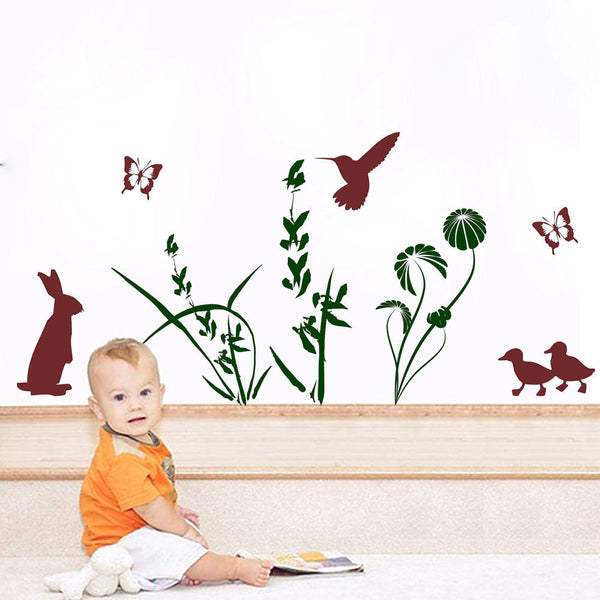 Animal with Floral Set Vinyl Wall Decal