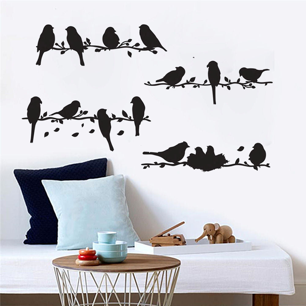 Birds on a Branch Vinyl Wall Decal Set of 4