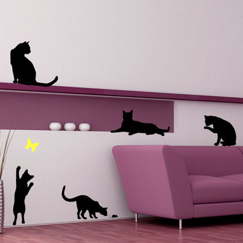 5 Pack of Cats and Colored Butterfly Vinyl Wall Decal