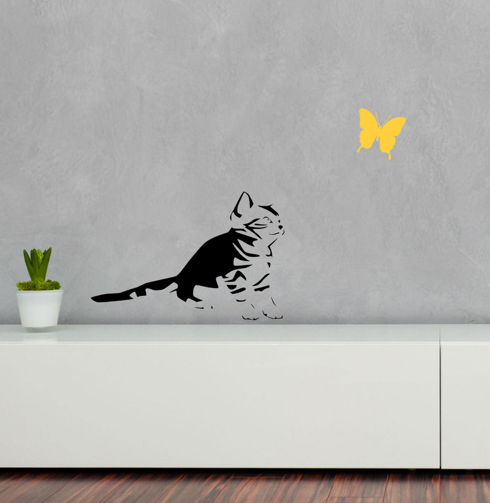 Abstract Kitten with Colored Butterfly Vinyl Wall Decal