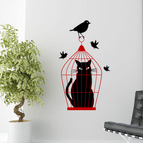 Cat in a Bird Cage Wall Decal Sticker