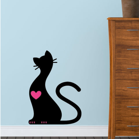 Cat with Color Heart Vinyl Wall Decal Sticker
