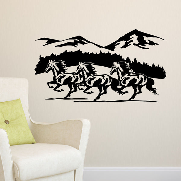 Horse Trio Running in Mountains Vinyl Wall Decal Sticker