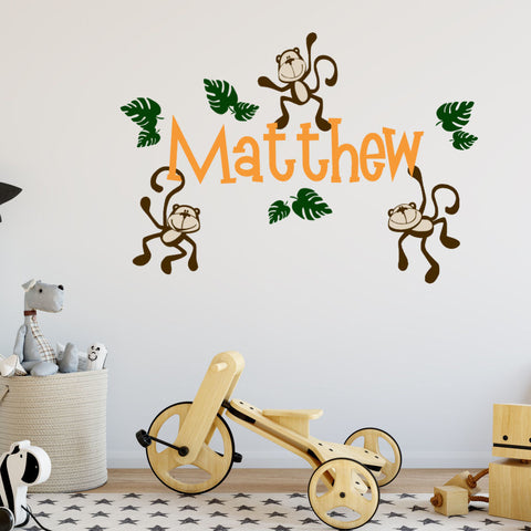 Monkeys with Personalized Name Nursery Room Vinyl Wall Decal