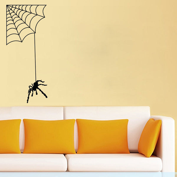 Spider with Web Vinyl Wall Decal