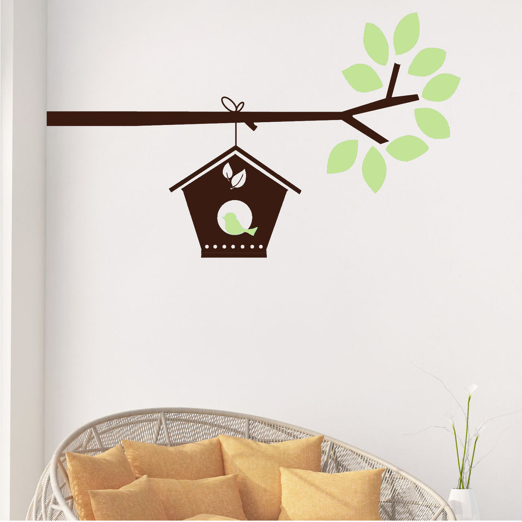 Birdhouse on Branch Wall Decal Sticker 2 Color