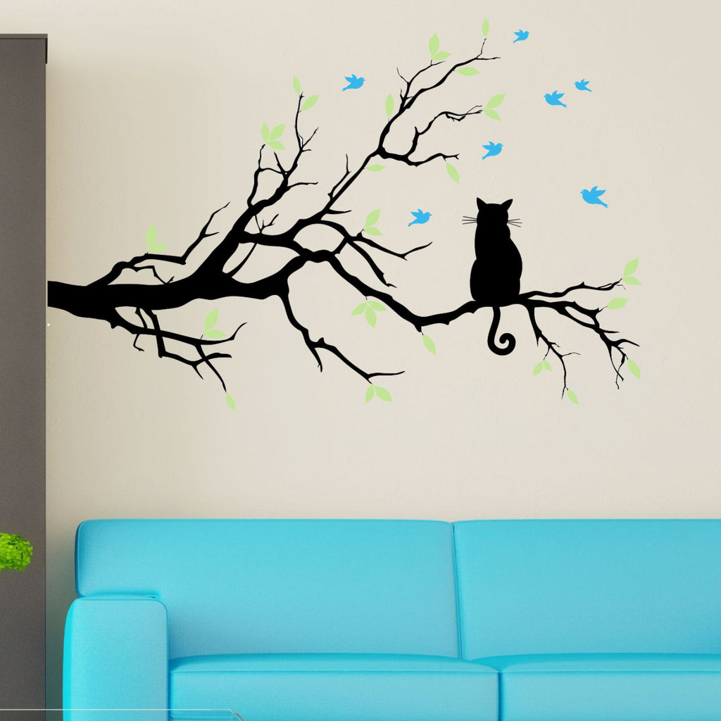 Cat on a  Branch with Birds Wall Decal Sticker 3 Color