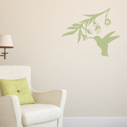 Hummingbird and Branch Wall Decal Sticker