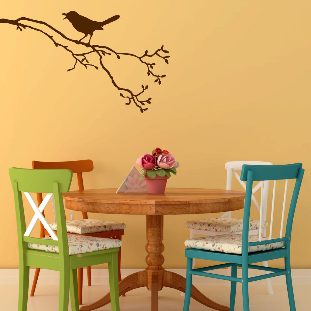 Singing Bird on a Branch Wall Decal Sticker