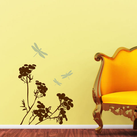 Drangonflies with Floral Graphic Wall Decal