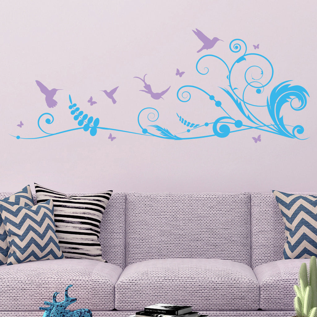 Floral Swirl Hummingbird and Butterflies Wall Decal