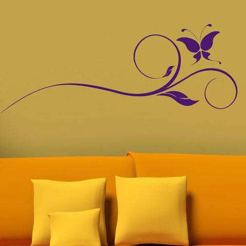 Floral Swirl with Butterfly Wall Decal