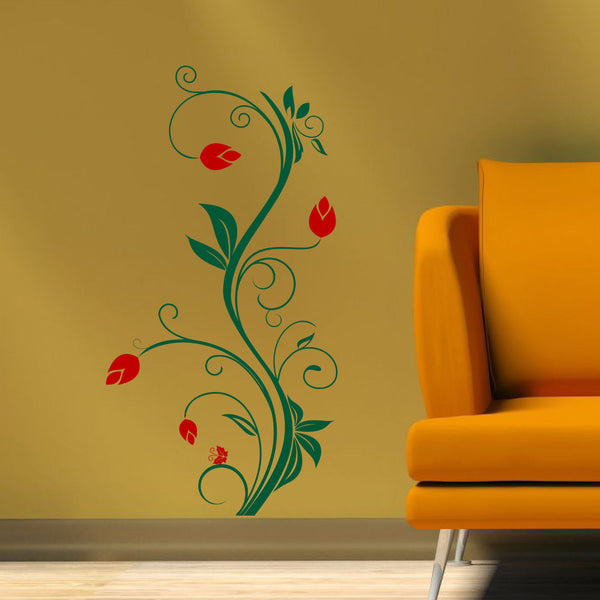 Vertical Floral Vine Wall Decal - 2 Color
