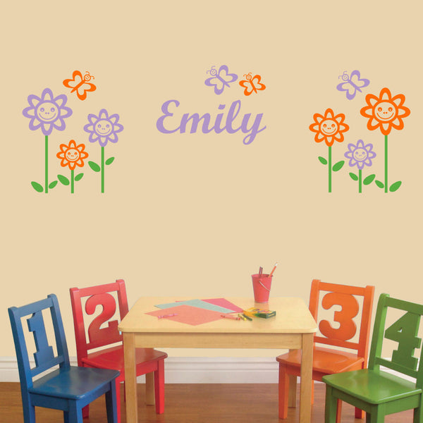 Happy Flowers & Butterfly Set - 3 Color Wall Decal