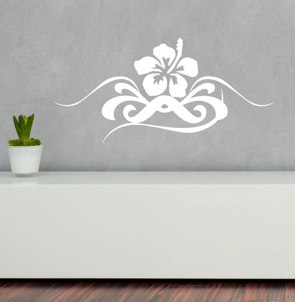 Hibiscus Swirl Graphic Wall Decal