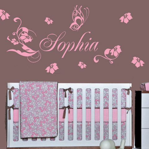 Personalized Floral & Butterfly Graphic Wall Decal