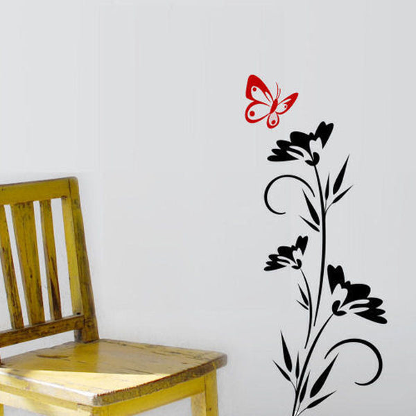 Flowers with a Butterfly Graphic Wall Decal