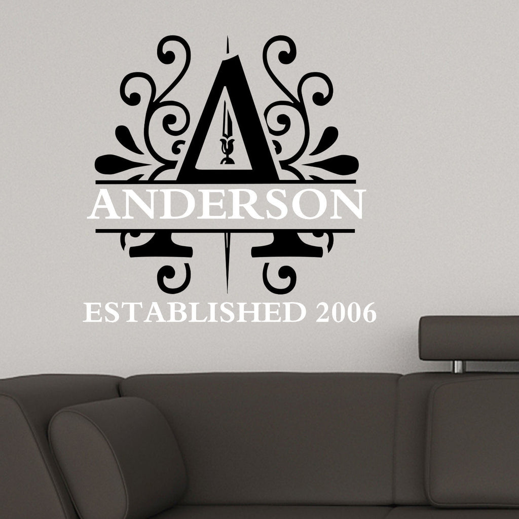 Personalized Name with Initial Two Color Wall Decal