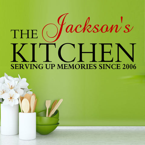 Pesonalized Kitchen Serving Up Memories Wall Decal