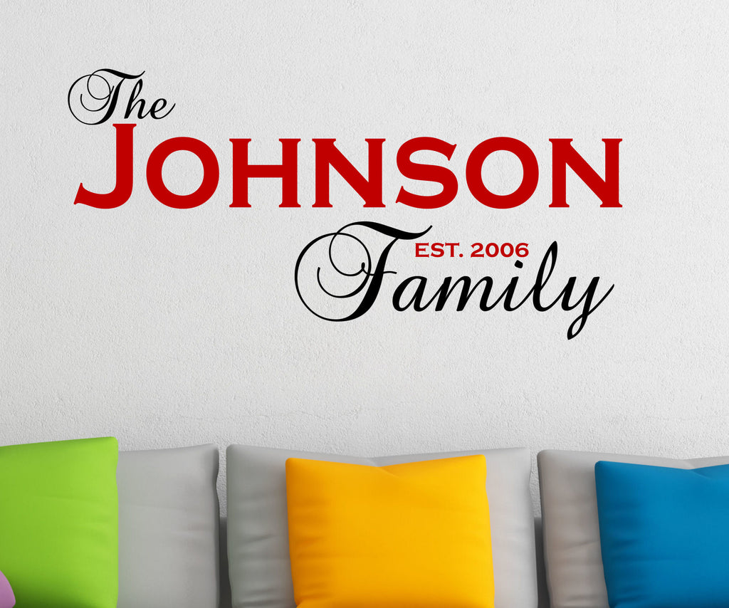Personalized Family Name and Year Established Wall Decal