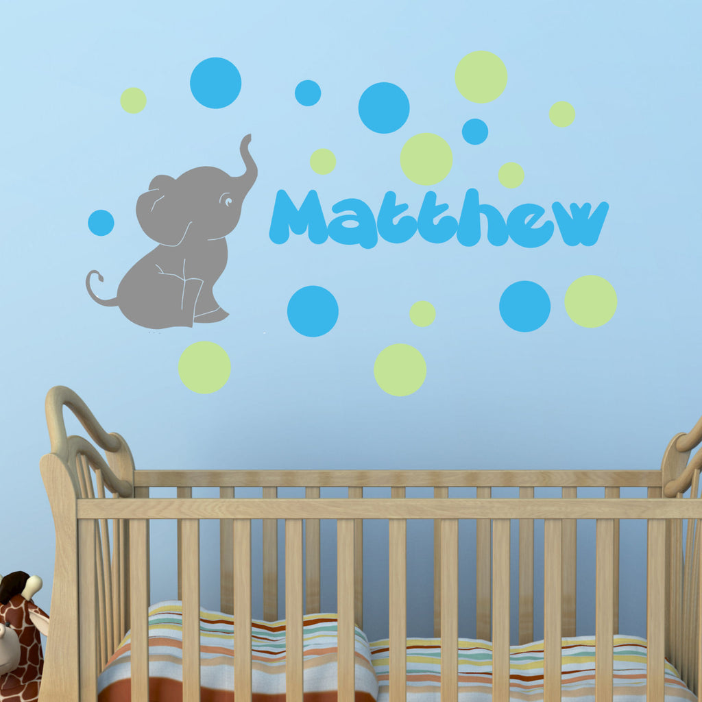 Elephant with Personalized Name Colored Bubbles Wall Decal
