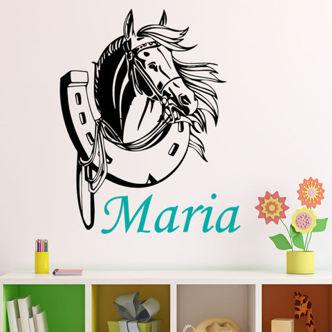 Personalized Name with Horsehead and Horseshoe Wall Decal
