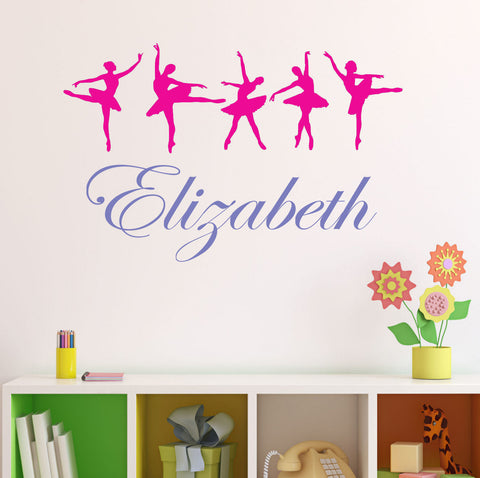 Ballerina Dancers with Personalized Name Wall Decal