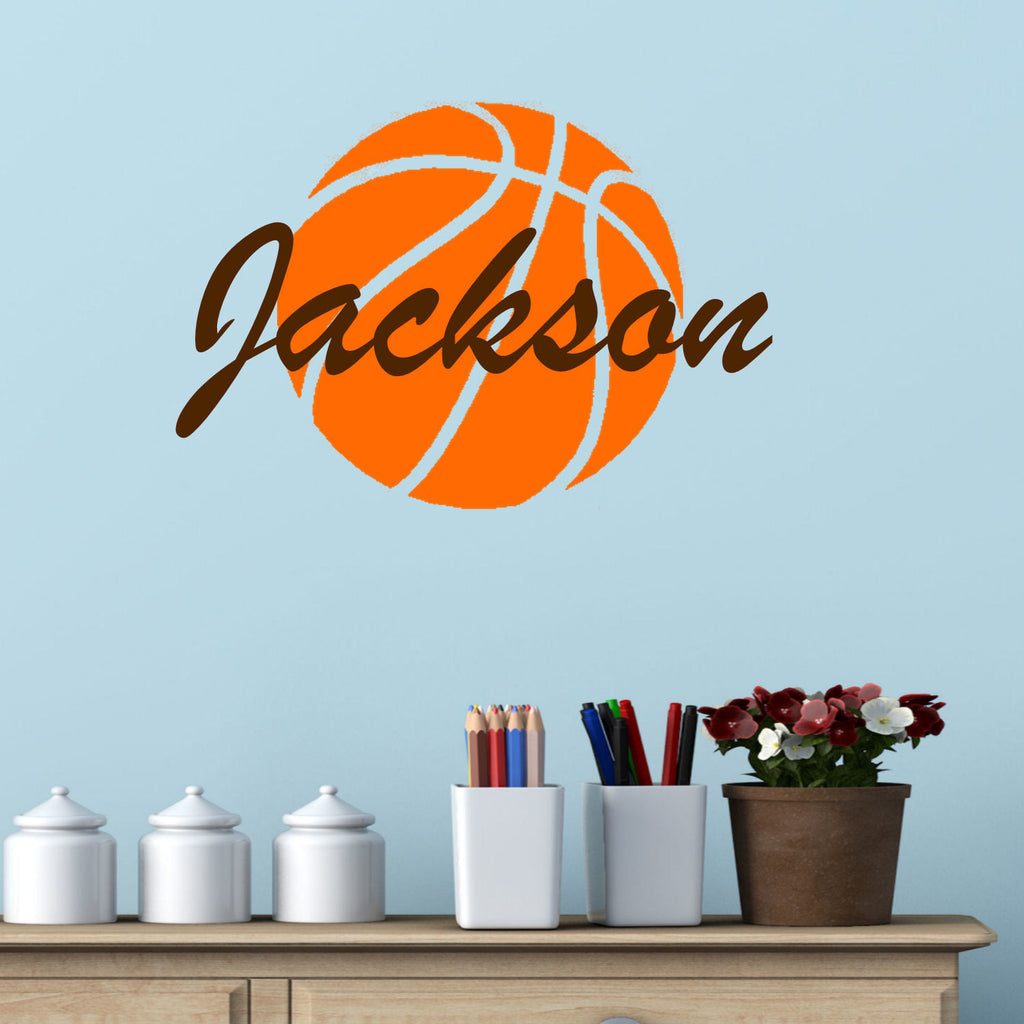 Basketball with Personalized Name Wall Decal